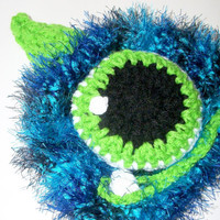 monster hat baby boy photo prop crocheted blue monster by crochetedcuddles