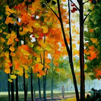 HOT NOON IN THE FOREST — PALETTE KNIFE Oil Painting On Canvas By Leonid Afremov - Size 36x20. 10% discount coupon as well - deviantart10off