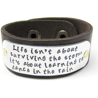 Leather Cuff Inspirational Quote Bracelet by geekdecree