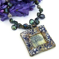 Handmade Tree Pendant Necklace Rustic Green Pearls Bali Beaded Jewelry