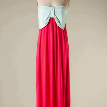 Ice Mint/Coral Strapless Maxi Dress | HGD51