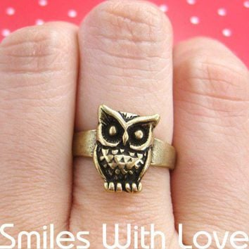 Owl Animal Ring with Feather Detail in Bronze - Sizes 5 to 7 Available | smileswithlove - Jewelry on ArtFire