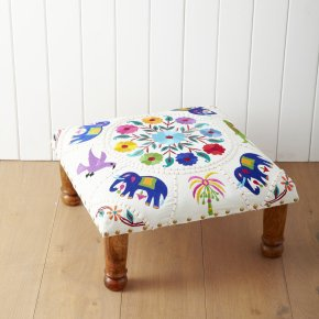Embroidered Indian Footstool | Furniture | House &amp; Home | House &amp; Home | rigby &amp; mac