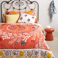 Zocalo Embroidered Quilt by Anthropologie Coral