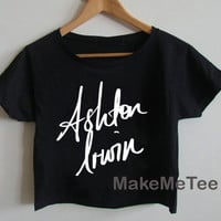 New Ashton irwin Sign 5 Seconds Of Summer 5 SOS Crop top Tank Top Women Black and White Tee Shirt - MM1
