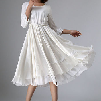 White linen dress - women tea length dress with lace detail - custom made (960)