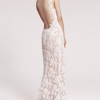 Reem Acra 'Eve' Illusion Yoke Embroidered Lace Column Gown | Nordstrom