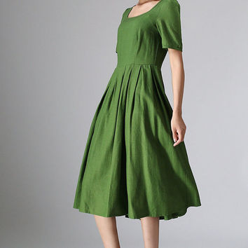 green dress woman linen dress custom made midi dress (973)