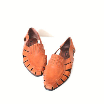 size 10 huaraches / 80s esprit caramel leather sandals