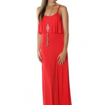 Layered Maxi Dress Red
