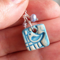 Small Ceramic Necklace  Blue Bird Pendant  by ContempoJewelry