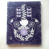 Hamsa hand -Purple and Grey- fashionable acrylic canvas painting for trendy girls room or home decor