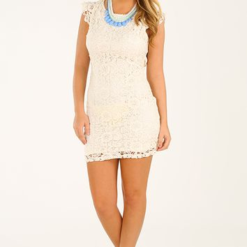 Lace To The Top Dress: Cream