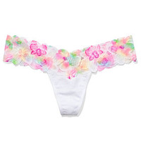 Floral Lace Trim Thong Panty - PINK - Victoria's Secret