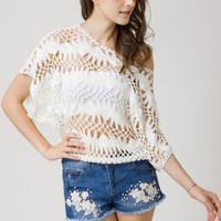 White Short Sleeve Top - Open Knit Short Sleeve Top | UsTrendy