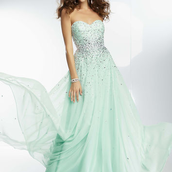 Mori Lee 95090 - Mint Strapless Beaded Chiffon Prom Dresses Online