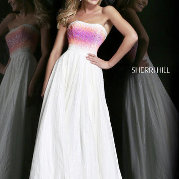 Sherri Hill 8535 - Ivory/Coral/Pink Strapless Sequin Prom Dresses Online