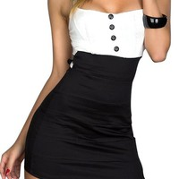 Sexy Mini Slim Dress Clubwear Party Button Decorated Shoulder Strap Black White