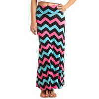 Chevron Print High-Waisted Maxi Skirt - Black Combo
