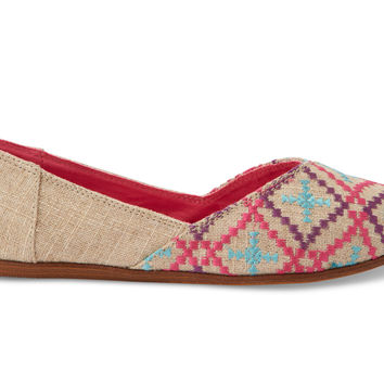 EMBROIDERED BURLAP VEGAN WOMEN'S JUTTI FLATS
