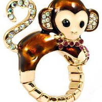 The Cutest Designer Inspired Crystal Monkey Stretch Ring Ever