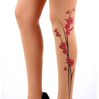 Nude color Tattoo Tights by goeastart on Etsy