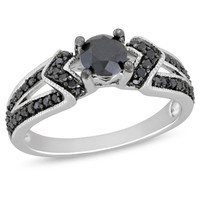 1 CT. T.W. Enhanced Black Diamond Engagement Ring in Sterling Silver - View All Rings - Zales