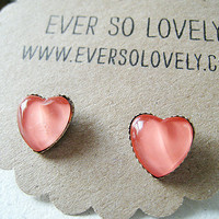 coral pink heart metallic earrings by EverSoLovely