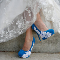 Turquoise Heel With Venise Lace Applique by walkinonair