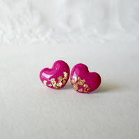 Fuschia gold heart stud earrings- Hot pink gold posts- Girly and cute jewelry for everyday