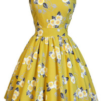 LADY VINTAGE TEA DRESS Pretty Yellow Floral Hepburn Rockabilly Flared SIZE 8-20