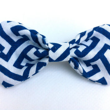 blue white bow / nautical hair bow hairbow / small barette handmade