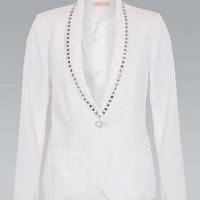 White studded blazer