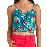 Double Ruffle Hawaiian Print Crop Top