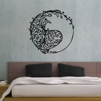 Taoism (Daoism) Symbol Yin and Yang Floral Pattern Wall Vinyl Decal Art Sticker Home Modern Stylish Interior Decor for Any Room Smooth and Flat Surfaces Housewares Murals Window Graphic Bedroom Living Room (3658)