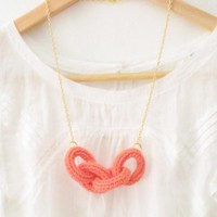 Chain Reaction, Crochet Chain Necklace. Coral Pink Cotton Yarn | Luulla