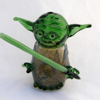 Star Wars Yoda Pipe with Light Saber | PrairiePipes - Glass on ArtFire