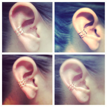 Triple Bar Ear Cuff, Gold, Silver, Bronze, or Rose Gold