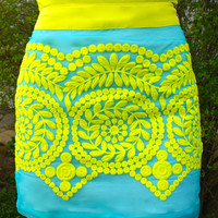 Sweet Summertime Skirt: Aqua/Lemon Lime