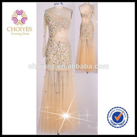 Gold Beaded One Shoulder Long Sleeve Dresses Evening Dresses With Stones | Swarovski Crystal Evening Dress, View swarovski crystal evening dress, CHOIYES Product Details from Chaozhou Choiyes Evening Dress Co., Ltd. on Alibaba.com