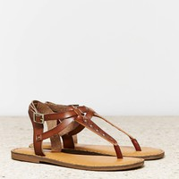 's Studded T-strap Sandal (Brown)