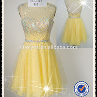 Yellow Dress Wholesale Short Party Dress with Illusion Neckline|Beaded Top|Open Back|Sweetheart Illusion, View Short Party Dress with Illusion Neckline, choiyes Product Details from Chaozhou Choiyes Evening Dress Co., Ltd. on Alibaba.com