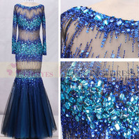 Hot Sexy 2014 Black Tulle Royal Blue Crystal Stone Beads Mermaid Long Sleeves Prom Dress Evening Dress with Stone, View prom dress, Choiyes Evening Dress Product Details from Chaozhou Choiyes Evening Dress Co., Ltd. on Alibaba.com