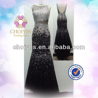 Evening Dress 2014 | Sexy Black Backless Sleeveless Crystal Beaded Shiny Floor Length Evening Dresses Black, View floor length evening dresses black, Choiyes Product Details from Chaozhou Choiyes Evening Dress Co., Ltd. on Alibaba.com