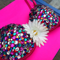 Hot Pink mixed color rhinestones Rave Bra