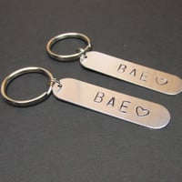 Hand Stamped Keychain, BAE, Before Anyone Else, for Couples or Best Friends