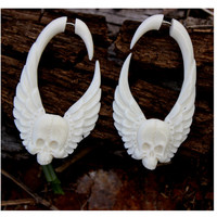 Fake Gauge Earrings Hand Craved Natural  Bone Split Gauge organic tribal style fake piercings