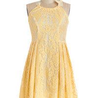 ModCloth Pastel Mid-length Sleeveless A-line Lemonade in the Shade Dress in Fresh-Squeezed