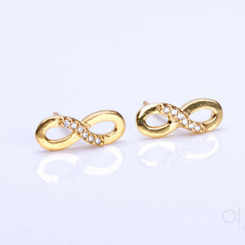 "Infinity earrings, gold stud earrings, infinity stud earrings, bridesmaid gift, cubic zirconia earrings, sterling silver earrings, ""Infinity"