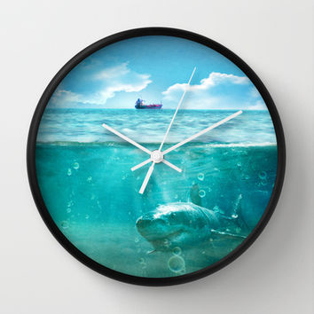 Blue Wall Clock by SensualPatterns